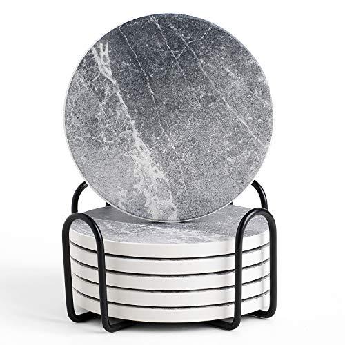LIFVER Posavasos para bebidas absorbentes, 6 posavasos de cerámica con base de corcho, evita que los muebles se ensucien y se rayen, posavasos con soporte – posavasos grises no mármol