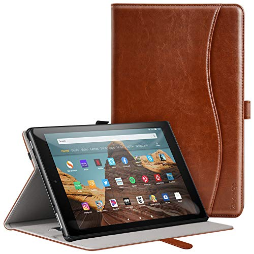 ZtotopCase for All-New Amazon Kindle Fire HD 10 Tablet Case (2019/2017,9th/7th Gen) - Ultra Thin PU Leather Multi Angle Folding Case with Auto Wake/Sleep Function - Brown