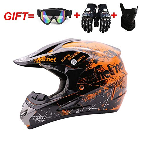 QYWSJ Cascos de Motocicleta para Adultos, Motocross BMX Scooters para JóVenes Cascos ATV, MáScaras de Guantes de Oculares Gratis (S, M, L, XL)