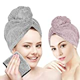 YouCoulee Organic Bamboo Hair Towels Wrap Turban,3 Packs Hair Drying Towels with Face Towel,Quick Dry Hair Towel, Anti Frizz Super Absorbent & Soft Hair Towels for Women Girl Wet/Long/Curly Hair