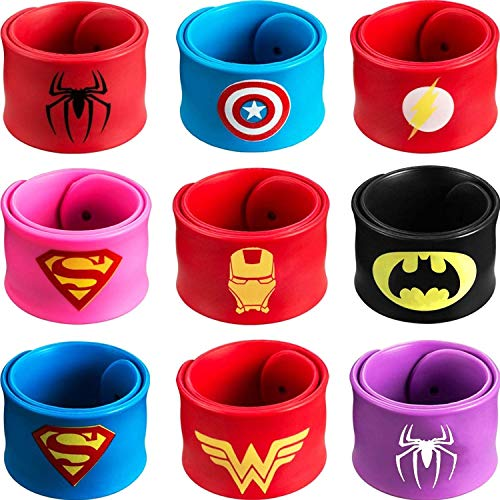 Schnapparmband, 9Pcs Schnapparmbänder für Kinder, Superhelden Slap Bands Silikon Wristband für Kinder Jungen & Mädchen Birthday Party Favors