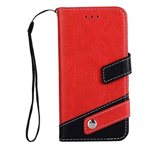 iPhone 6/6S Flip Wallet Lederen hoesje dechyi cover met Card Slots Portemonnee Kan ophangen hoofdtelefoon Voor sport & muziek en voor jongens en meisjes, Rood, iPhone 6/6S Plus