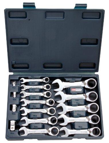 Ks Tools 503.453 - Coffret de Clé mixte courte à cliquet réversible - Gamme GEARplus® - 10 pièces : 8 à 19 mm + 4 embouts - En chrome Vanadium - Finition Satinée