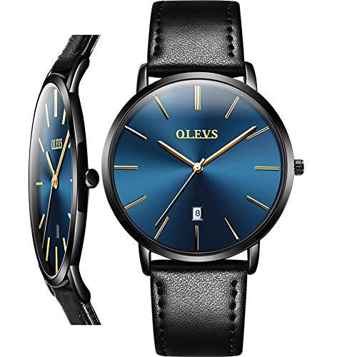 Man Leather Watch Blue Face, Ultradünne Armbanduhren für Herren Wasserdichte japanische Quarzuhr für Herren, Mode schlanke minimalistische Armbanduhr, schlanke Uhr aus schwarzem Leder