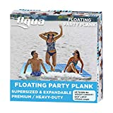 AQUA Large Floating Mat Raft Island with Expandable Zippers, 500 Lbs. Capacity, For Lake-Ocean-Pool Floating, Heavy Duty, Navy/White Stripe