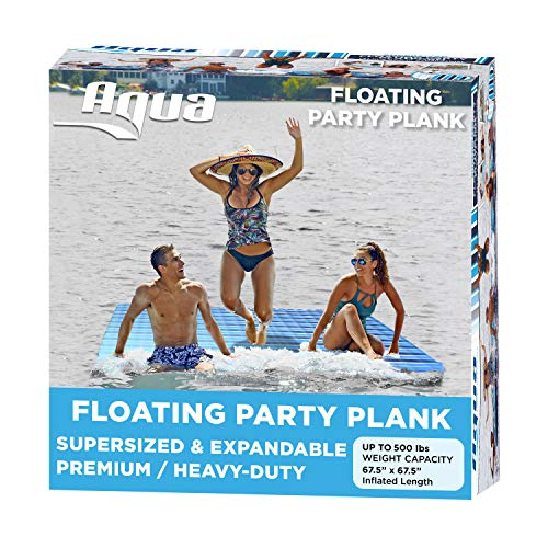 AQUA Large Floating Mat Raft Island with Expandable Zippers, 500 Lbs. Capacity, For Lake-Ocean-Pool...