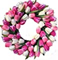 Wreaths For Door Spring Indulgence Tulip Wreath White and Pink Tulips Indoor Outdoor 22 Inch Spring Door Wreath Decorate Easter Mothers Day Will Fit Between Most Storm Doors