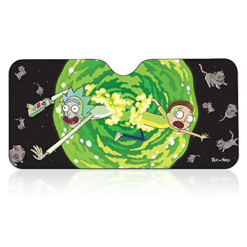 Official Rick and Morty, Car Window Foldable Rectangle Sunshade / Windshield / Sun Visor, Set of 1, 57 X 28 inch Gift - Auto Sun Shade for Cars, Suv's and Trucks / Sun Shield