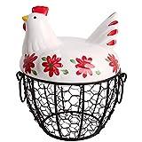 Canasta de Huevos de Alambre de Metal, Canasta de Almacenamiento con Soporte de Huevo con Cubierta de Cerámica para Pollo, Diseño de Forma de Pollo, para Almacenamiento de Cocina, Huevo, Fruta,Verdura