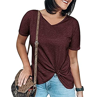 Amazon - 60% Off on Women's Tight Petite Twist Knot Tops Comfy Short Sleeve Knotted Tops Tunic Tank Tee Solid Color T Shirt