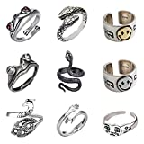 Stology Vintage Punk Rings Bulk, Adjustable Open Snake Frog Smiley Sad Crying Face State Rings Set, Gothic Knuckle Hugging Peacock Jewelry Fashion Accessory for Men Women