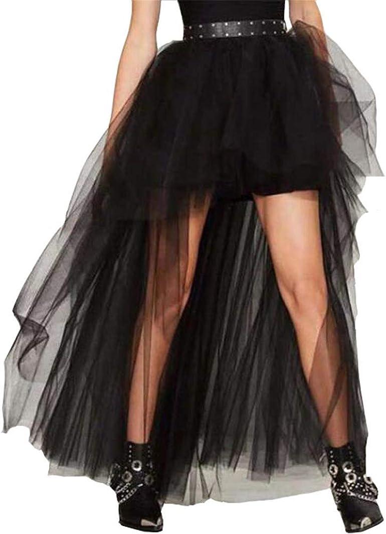 Meowmming Women's Mesh Tulle High Low Tutu Skirts Layered Mesh Tulle High Waist Tutu Princess Wedding Skirt