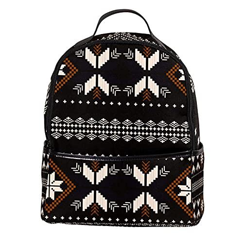 ATOMO Casual Mini Zaino Tribale Colore Scuro Geometrico PU Cuoio Viaggio Shopping Borse Daypacks