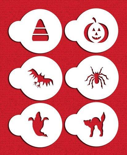 Designer Stencils C065 Halloween Cupcake and Cookie Stencil Set with Cat, Candy Corn, Spider, Ghost, Bat and Pumpkin, Beige/semi-transparent by Designer Stencils
