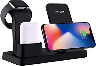 3 In 1 Wireless Charger Stand for iPhone Apple Watch Airpods, OOOUSE 10W Qi Fast Wireless Charging Station Dock Pad Holder...
