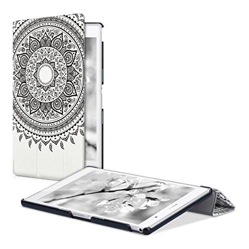 kwmobile Custodia Compatibile con Sony Xperia Tablet Z3 Compact - Smart Cover per Tablet in Pelle PU - Copertina Ultra Sottile con Stand - Sole Indiano Nero/Bianco