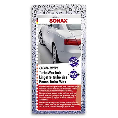 SONAX Clean&Drive TurboWaxTuch 40x50 Thekendisplay (1 Stück) hochwertiges MicrofaserTuch sorgt für Hochglanz ohne Nachpolieren | Art-Nr. 04140000