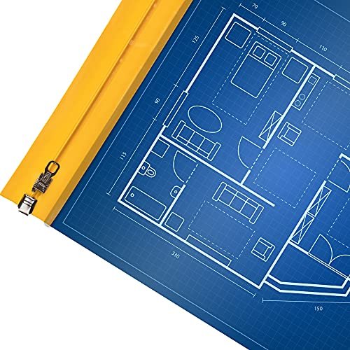 Ecom Delivery® DIN A0 Planschutztasche für Baupläne [1 Stück]   900 x 1250mm   Plantasche   Planschutzfolie   Bauplanhülle   Bauplanfolie