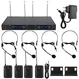 Set microfono wireless, UHF 724,9 ~ 767,5 MHz Sistema microfonico wireless a 4 canali con ...
