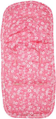 minene–2065de asiento para carrito y asiento de coche–Doble cara de algodón y rizo, Rosa con Flores Blancas