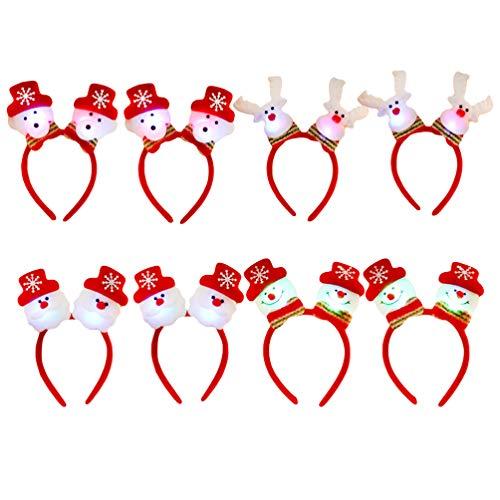 Lurrose 8 pièces Serre-tête de Noël Lumineux Bandeaux Cheveux en Forme de Bonhomme de Neige Cerf LED Serre-tête de Peluche Cheveux Accessoires pour Fête Noël dEnfant