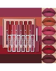 Mimore Lápiz labial 6pcs / set Kit de brillo de labios de lápiz labial líquido mate Kit de regalo de lápiz labial líquido resistente al agua de larga duración para cosméticos