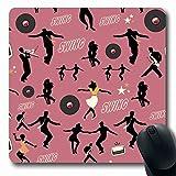 Luancrop Alfombrillas Big Swing Danza Patrón Bailarines Músicos Ballet Retro Deportes Recreación Jazz Música 80S Radio Antideslizante Gamalfombrilla de ratón de Goma Estera Oblonga