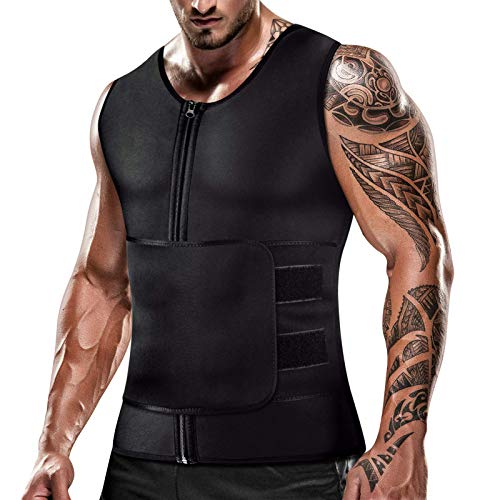 Cimkiz Mens Sweat Sauna Vest for Waist Trainer Zipper Neoprene Tank Top, Adjustable Sauna Workout Body Shape Zipper Suit