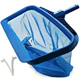Upgraded Pool Skimmer Net, Heavy Duty Leaf Rake for Cleaning Swimming Pool & Pond, Fine Mesh Deep Bag Catcher with Strong Plastic Frame