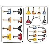 3Pcs Alfombra de baño antideslizante Juego de tapa de asiento de inodoro Guitarra Suave antideslizante Alfombrilla de baño Una amplia variedad de instrumentos de cuerda Patrón musical realista Jazz Bl