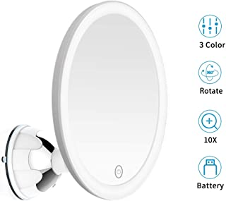 10X Magnifying Makeup Vanity Mirror With Lights - 3 Color Modes & Cordless Travel Mirror with Magnification, USB or Battery Operated, 360°Rotation & Powerful Suction Cup for Bathroom Shower Travel