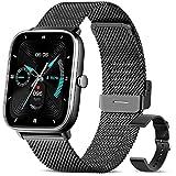 Smartwatch, Reloj Inteligente A Prueba de Agua IP67, Smart Watch 1.69 Pulgadas Táctil Completa con 24 Deportes, Ritmo Cardíaco, Caloría, GPS, Pulsera de Actividad Inteligente con iOS Android(Negro)