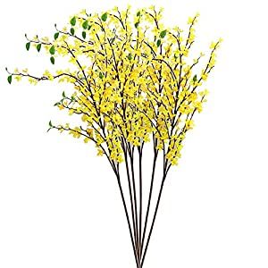 TRRAPLE Winter Jasmine Artificial Flowers, 4Pcs 53 Inch Artificial Long Stem Flowers Silk Flower Arrangements with Stems for Table Centerpieces Wedding Home