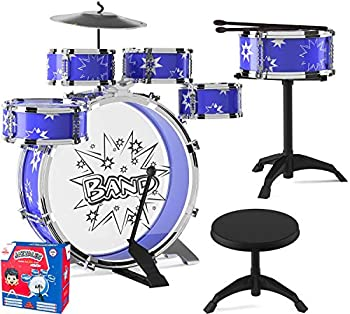 EMAAS Kids Jazz Drum Set for Kids – 5 Drums 2 Drumsticks Kick Pedal Cymbal Chair Stool – Ideal Gift Toy for Kids Teens Boys & Girls - Stimulates Musical Talent Imagination and Creativity