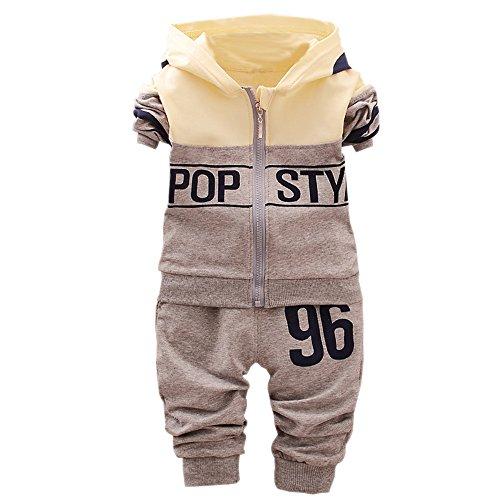 XFentech Baby Boys and Girls Maillots de Sport + Pantalons (80, Gris)