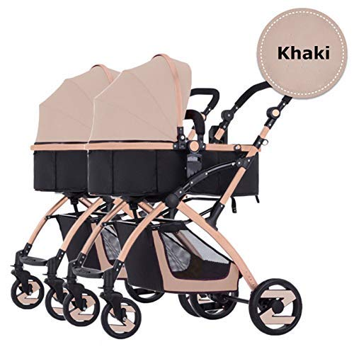 Best Bargain antk777 Double Strollers Baby Pram Tandem Buggy Newborn Pushchair Ultra Light Folding C...