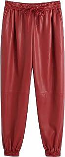 بناطيل نسائية من الجلد للنساء من Clinlllinisnsck ، بنطلون نسائي من الجلد الصناعي بخصر مرتفع ورباط أحمر (اللون: أحمر، المقا...
