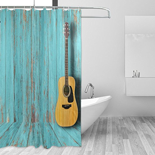 jstel Gitarre Duschvorhang Schimmelresistent & Polyester-Wasserdicht-182,9x 182,9cm für Home Extra Lang Badezimmer Deko Dusche Bad Gardinen Liner mit 12Haken