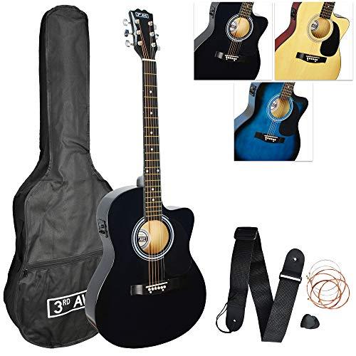 3rd Avenue Pack de guitarra electroacústica con Cutaway de tamaño estándar 4/4 para principiantes con afinador integrado y ecualizador, Negro