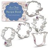 Ann Clark Cookie Cutters Juego de 5 cortadores de galletas flor / ramo de flores con libro de recetas, rosa por LilaLoa, girasol, tulipán, flor y árbol / ramo de flores