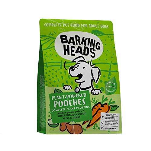 Barking Heads Dry Dog Food - Plant-Powered Pooches - 100% Natural Vegetarian Recipe - Support a Healthy Immune System (4 x 1kg)