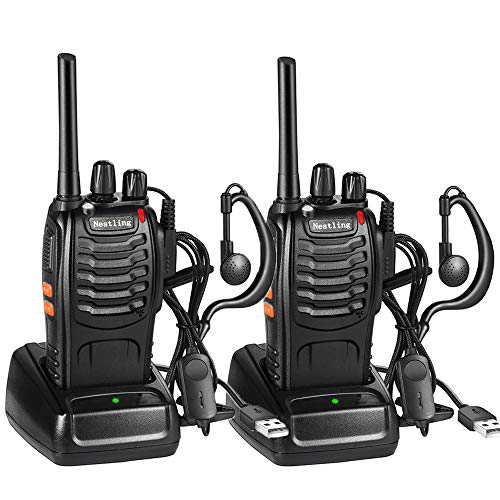 Nestling Funkgeräte Set,Walkie Talkie 16 Kanäle in beiden Richtungen,Handfunkgerät Eingebauter LED Taschenlampe mit USB Anschluß und Headset(2er Set)