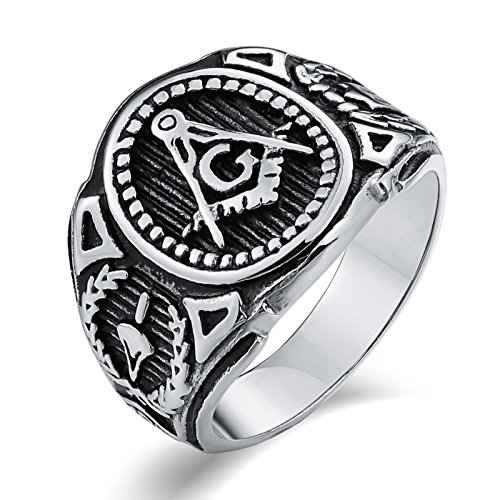 Adisaer Ringe Silber Herren Edelstahlringe Herren Bike Gothic Ring Herren Silber Freimaurer G Freimaurer Gr. 60 (19.1)