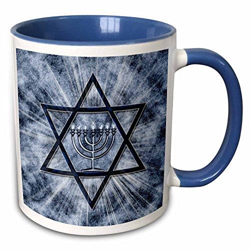3dRose mug_52283_6'Hanukkah Menorah with Star of David in Blue' Two Tone Blue Mug, 11 oz, Multicolor