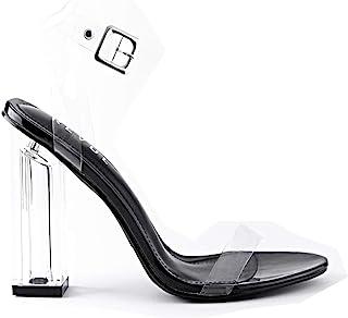 Revol Maria-2 Clear Chunky Block كعب عالٍ للنساء، أحذية بكعب مفتوح من الأمام للنساء, (اسود), 38 EU