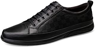 XUJW-Shoes, Fashion Skate Sneakers for Men Casual Outdoor Skateboard Flat Walking Shoes Lace up Leather Low Top Antislip Durable Comfortable Classic Soft (Color : Black, Size : 5.5 UK)