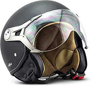 "SOXON SP-325 Mono ""Night""  Jet-Helm  Motorrad-Helm Roller-Helm Scooter-Helm Moped Mofa-Helm Chopper Retro Vespa Vintage Pilot Biker Helmet  ECE 22.05 Visier Schnellverschluss Tasche S 55-56cm"