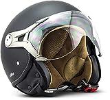 Soxon SP-325 Motorrad Jet-Helm , ECE Visier Schnellverschluss Tasche, M (57-58cm), Night