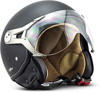 "NTNK N325 Mono ""Night"" · Open-Face-Helmet · Motorcycle Half-Face Jet Pilot Motor-Bike Scooter Biker Retro Chopper Cruiser Vintage Bobber · DOT Approved · XL"