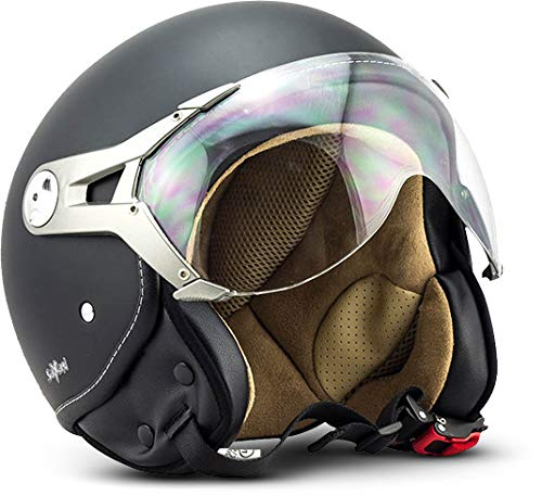 "SOXON® SP-325 Mono ""Night"" · Jet-Helm · Motorrad-Helm Roller-Helm Scooter-Helm Moped Mofa-Helm Chopper Retro Vespa Vintage Pilot Biker Helmet · ECE 22.05 Visier Schnellverschluss Tasche S (55-56cm)"